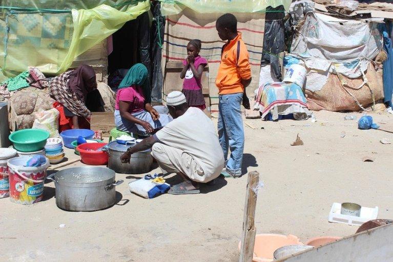 Photo d'archive prise dans un camp de migrants dans le sud-est de l'Algérie. Crédits : Ansa