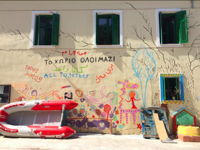 A mural painting welcoming migrants at PIKPA on Lesbos Island | Source: Screenshot Human Rights Watch (hrw.org)