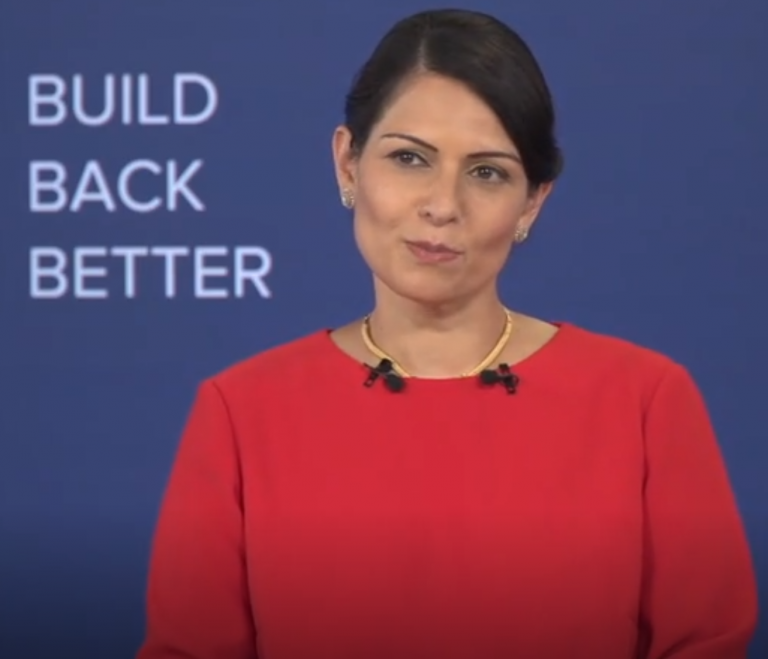 A screenshot from British Home Secretary Priti Patel's Conservative Party Conference Speech | Source: British Conservative Party screenshot