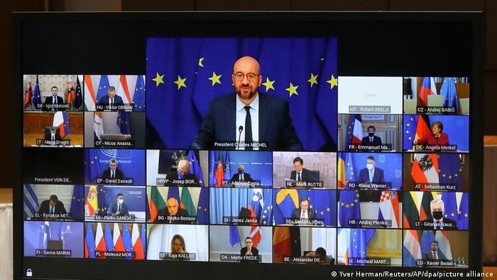 چارلز میشل رئیس شورای اتحادیه اروپا در جریان سخنرانی اش در اجلاس سران حکومات و دول عضو این  اتحادیه در بروکسل