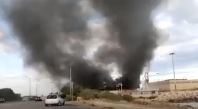 حريق في بوزالو. الصورة ملتقطة من فيديو