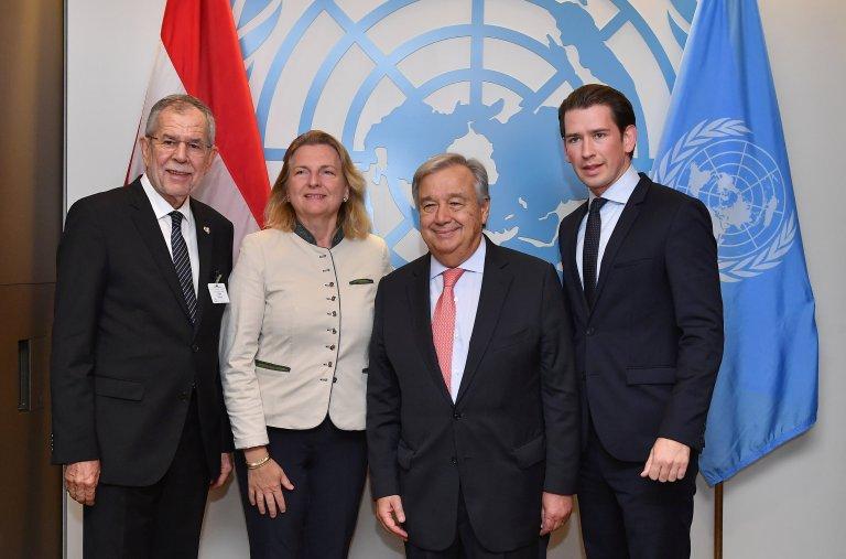 وزيرة الخارجية النمساوية بمقر الأمم المتحدة/ رويترز