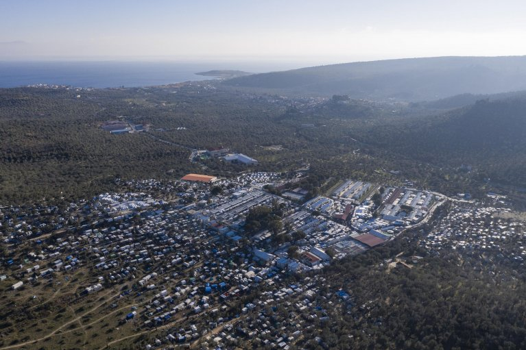 An image taken with a drone shows the refugee camp of Moria, on Lesvos island, Greece | Photo: EPA/DIMITRIS TOSIDIS