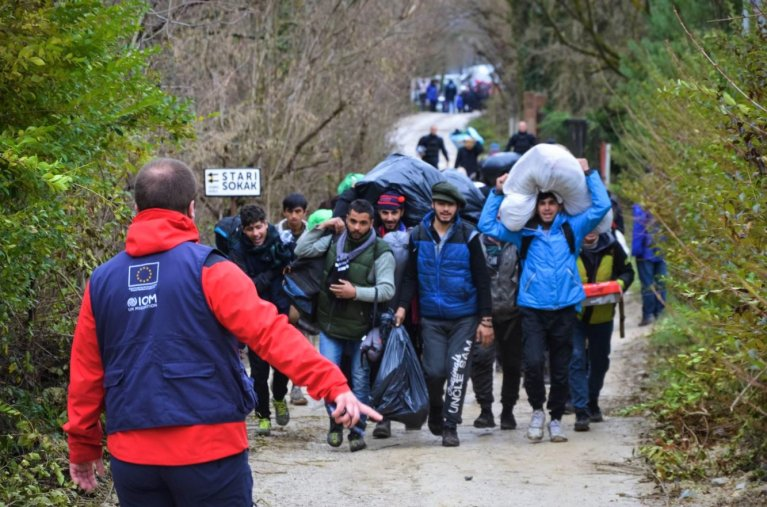 Moving migrants from the Vucjak camp in Bosnia and Herzegovina | Source: IOM Bosnia and Herzegovina Facebook site
