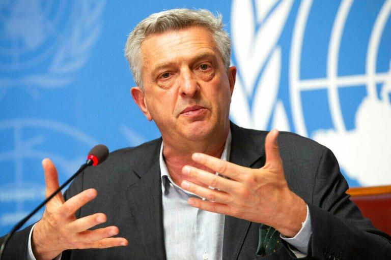 Le Haut-Commissaire des Nations unies pour les réfugiés Filippo Grandi lors d'une conférence de presse au siège des Nations unies à Genève. 16 juin 2020. Crédit : AP