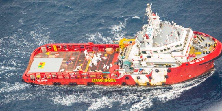 Le navire de ravitaillement Vos Triton. Crédit : Sea-Watch