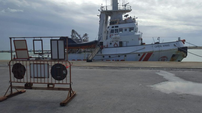 The Spanish NGO Proactiva's ship Open Arms, impounded in the port of Pozzallo