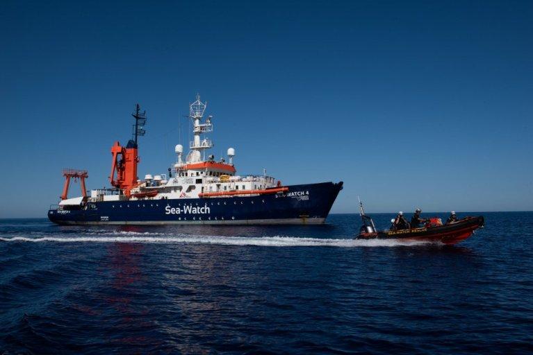 کشتی سی واچ ۴نخستین ماموریت خود را در مدیترانه روز ۱۵ اگست ۲۰۲۰ آغاز کرد.  عکس از سازمان سی واچ