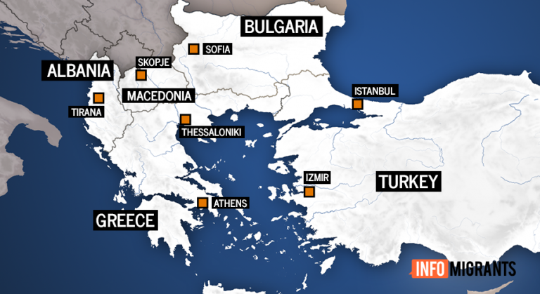 A map of Turkey and Greece, two frontline countries that migrants enter from the Mediterranean Sea