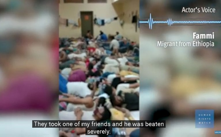 A frame of the video showing the degrading conditions in which dozens of Ethiopian migrants are detained in a deportation center in Riyadh in Saudi Arabia | Credit: Website Human Rights Watch