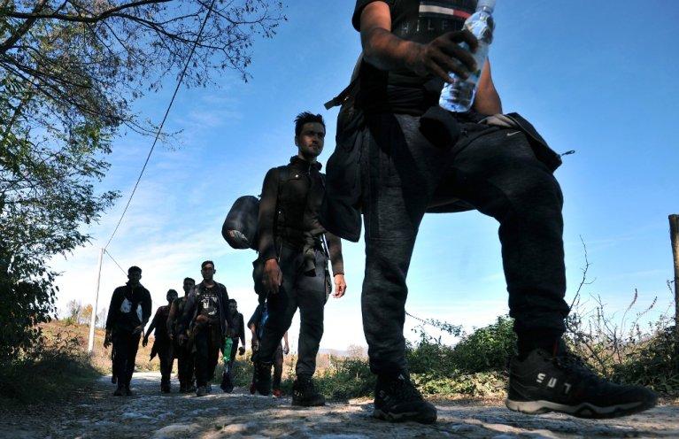ELVIS BARUKCIC / AFP |Des migrants asiatiques tentent la traversée des Balkans pour rejoindre les pays de l'Union européenne (image d'illustration).