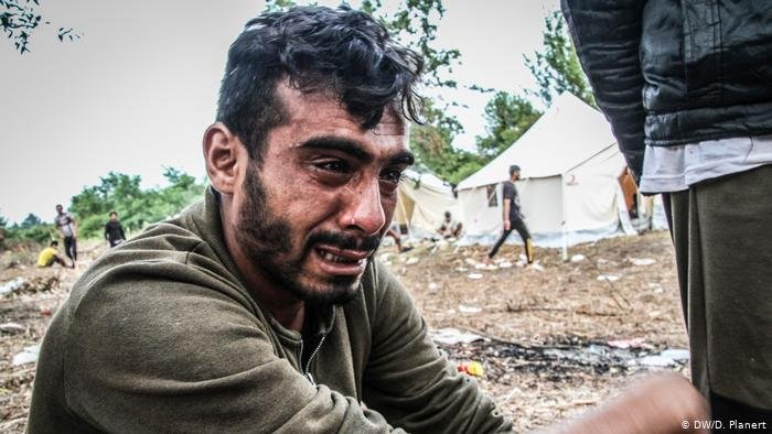"Syrian refugee Jouma has been on the road for three years and spent one year in Camp Moria on Lesbos ""I can't take it anymore,"" he says 