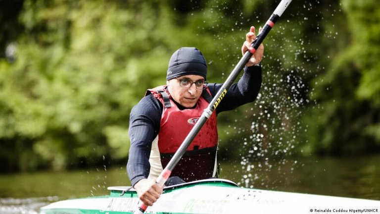 Eyes on the prize: Para-canoeist Anas Al Khalifa will represent the refugee team in Tokyo   Photo: Getty (via DW)