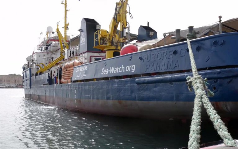 German NGO rescue vessel 'Sea-Watch 3' berthing in the harbor of Valetta, Malta | Credit: EPA/SEA WATCH