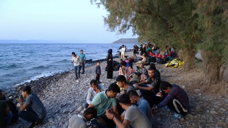 Migrants who arrived at Skala Sikamias, Lesbos island, Greece, on 29 August 2019 | Photo: EPA/STRATIS BALASKAS