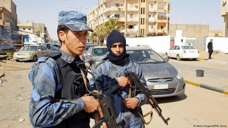 Forces loyal to Libyan strongman Khalifa Haftar patroling in downtown Sebha