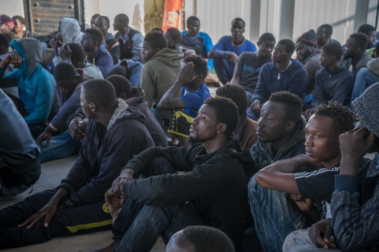 Migrants rescued by the Libyan Coast Guard west of Tripoli. PHOTO/ARCHIVE/CREDIT: ZUHAIR ABUSREWIL