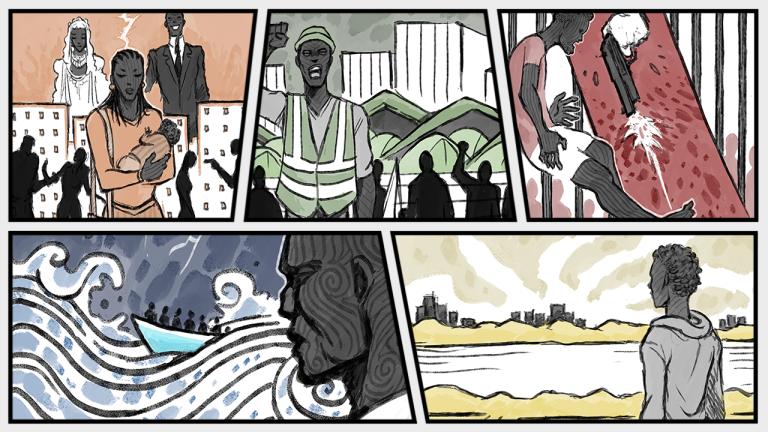 """Dans le podcast """"Voix d'exils"""", cinq migrants racontent leur exil. Crédit : Baptiste Condominas"""