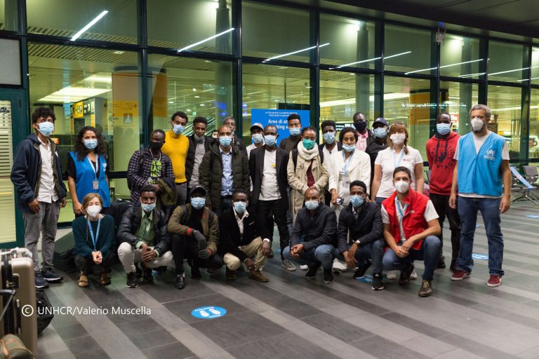 Twenty refugees arrive at Fiumicino airport on September 11, 2020. They won a scholarship through the project University Corridors for Refugees thanks to which they will be able to attend university | Credit: UNHCR