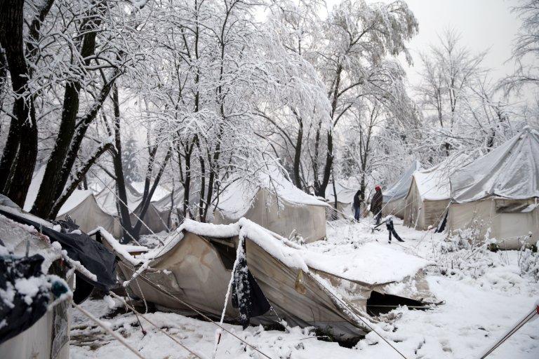 خیمههای مهاجران در کمپ ووچاک. عکس از رویترز