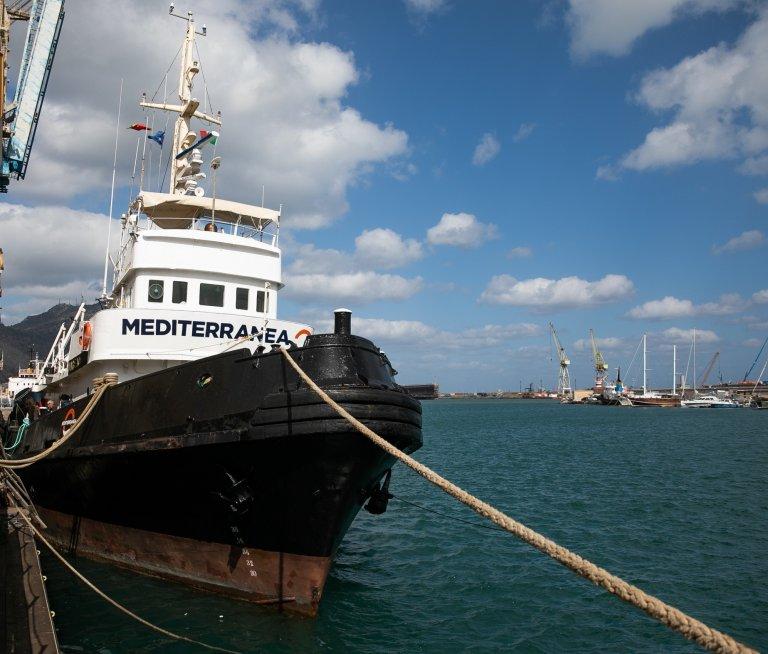 le Mare Jonio est actuellement au large des côtes libyennes. Crédit : Marta Buso / Ansa