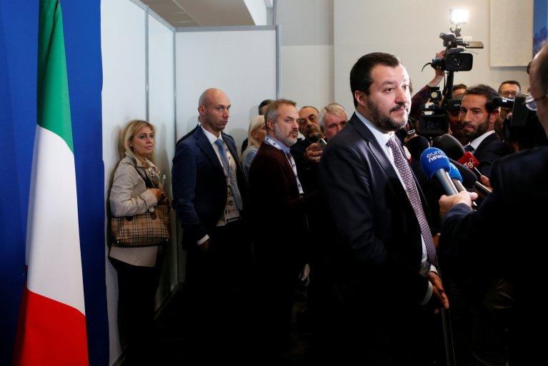REUTERS/Emmanuel Foudrot  Le ministre de l'Intérieur Matteo Salvini, lors d'une rencontre du G6 avec ses homologues européens, le Commissaire européen pour la sécurité et celui pour l'immigration, à Lyon le 9 octobre 2018.