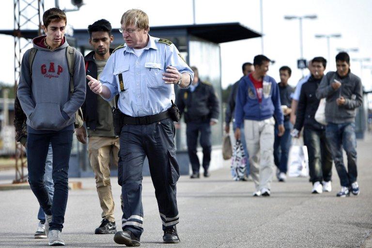 Des migrants à leur arrivée au Danemark, en septembre 2015. Crédit : EPA/Jens Noergaard Larsen