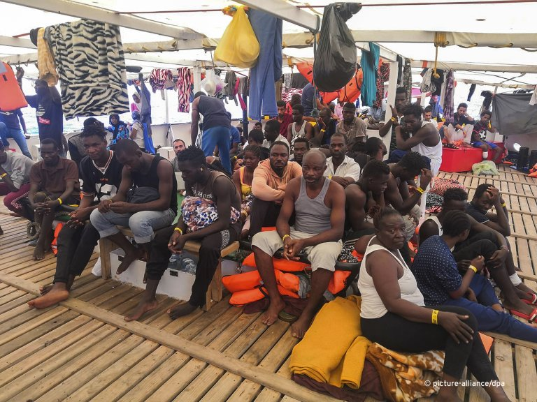 Migrants rescued by Proactiva Open Arms on board the Open Arms   Photo: Picture-alliance/dpa