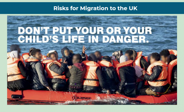 """Le site britannique """"On the Move"""", créé par le gouvernement, tente de dissuader les migrants de prendre la route pour le Royaume-Uni. Crédit : Capture d'écran/On the Move"""