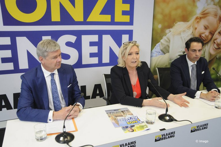 May 5 2019, Marine Le Pen gives a press conference to support the European Vlaams Belang project in Belgium with a view to the European elections. | Photo: Imago / Nicolas Landemard / Le Pictorium