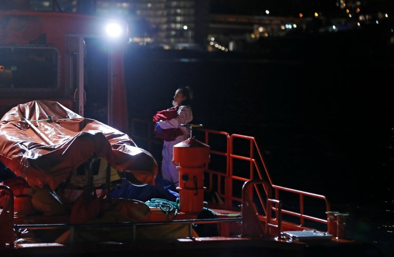 A baby was among a group of migrants rescued by the Spanish coast guard and brought to Arguineguin, Gran Canaria, on Tuesday, 18 February, 2020   Photo: Reuters/B. Suarez