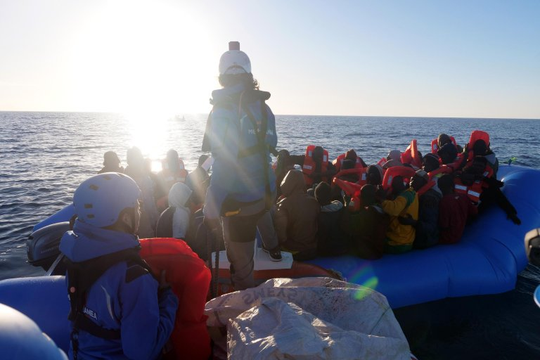 A scene from the rescue of 49 migrants on a dinghy from the ship Jonio, Rome, March 19, 2019   ANSA/MEDITERRANEARESCUE.ORG
