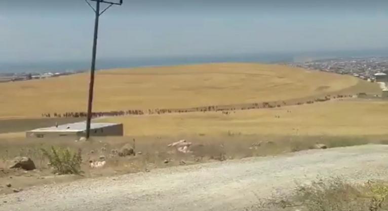 یک ویدیوی خبرگزاری رویترز به روز دوشنبه ۱۹ جولای دهها مهاجر را در حال عبور از کنار یک تپه در شهر وان نشان میدهد.عکس ا ز ویدیوی خبرگزاری رویترز