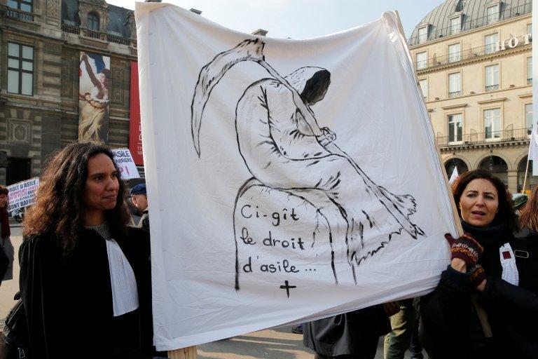 Image d'archive d'une manifestation contre le projet de loi Asile et immigration, le 21 février 2018. Crédit : Reuters