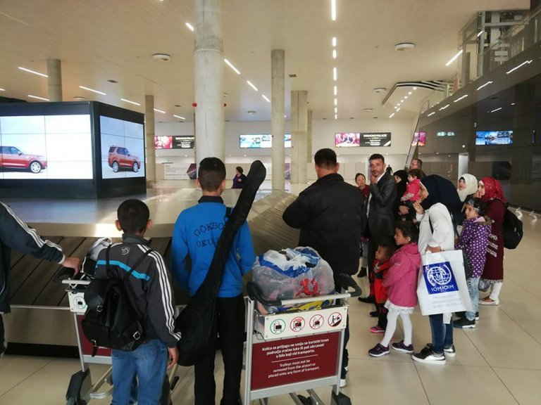 Some of the Syrian refugees after arrival in Zagreb last week. Credit: IOM