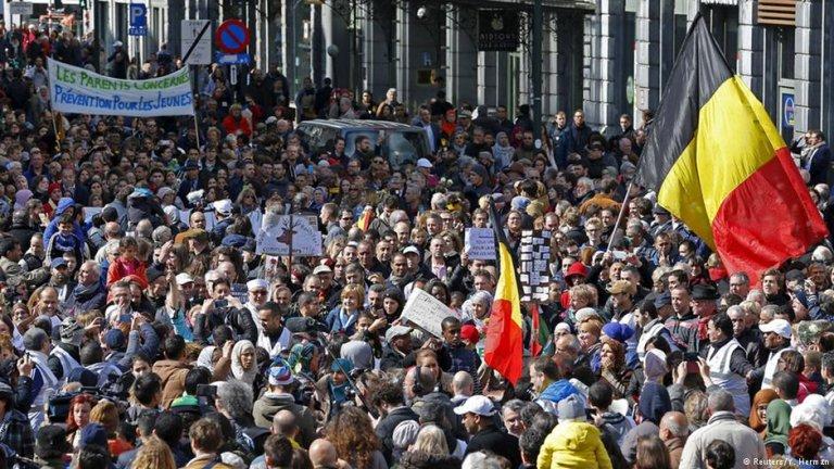 عکس از آرشیف دویچه وله/ شماری از معترضان در شهر بروکسل بلجیم دست به اعتراض زدند.