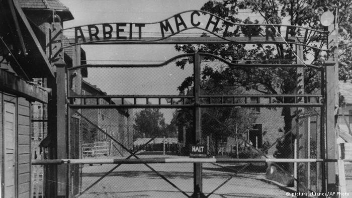 The entrance to the Auschwitz concentration camp