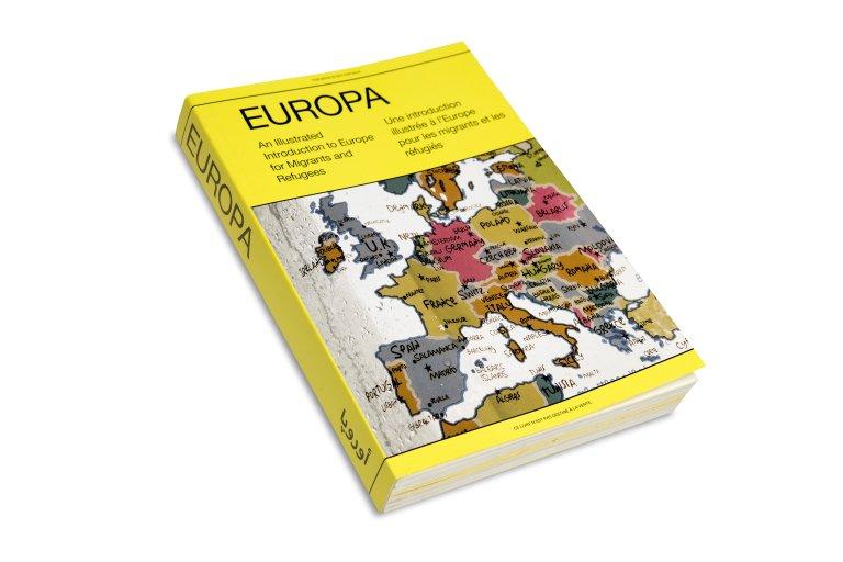 """Le guide """"Europa, une introduction illustrée à l'Europe pour les migrants et les réfugiés"""" donne des informations utiles aux migrants et réfugiés. Crédit : Magnum"""