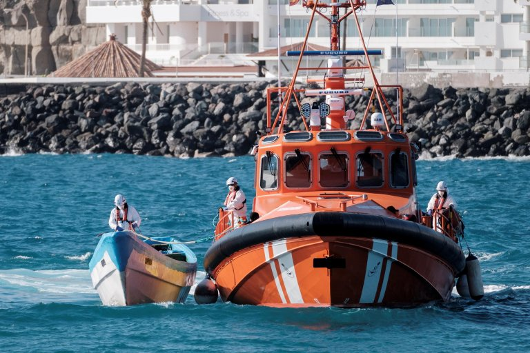 Sub-Saharan migrants arrive at Arguineguin's port after being rescued by Spanish Salvamento Maritimo in Gran Canaria, Canary Islands   Photo: ARCHIVE/EPA/Angel Medina G.