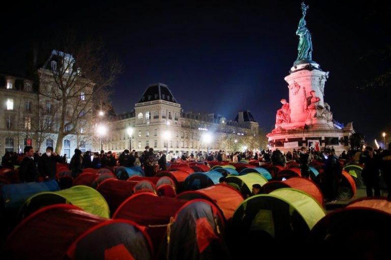 Around 500 people occupied Place de la République in tents on March 25 2020 | Photo: Reuters