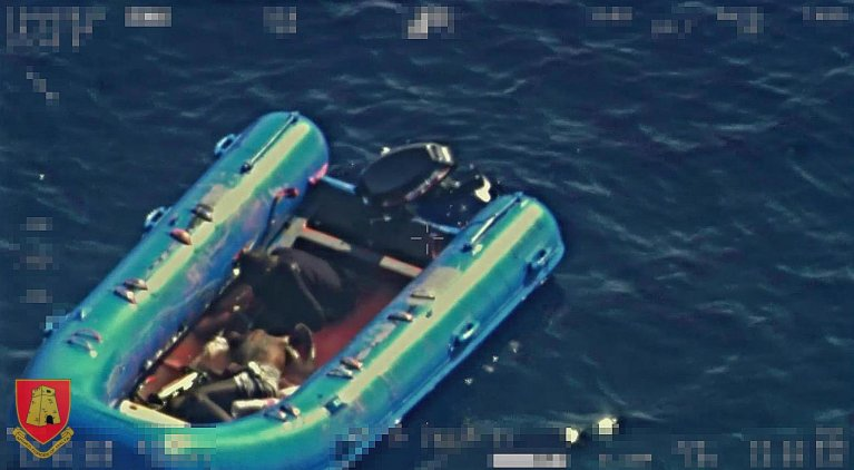 The boat sighted by Frontex reconnaissance aircraft with the only survivor, Mohammed Adam Oga, onboard as well as the corpse of another passenger who died from the hardships of the journey | ANSA/AFM - Armed Forces of Malta