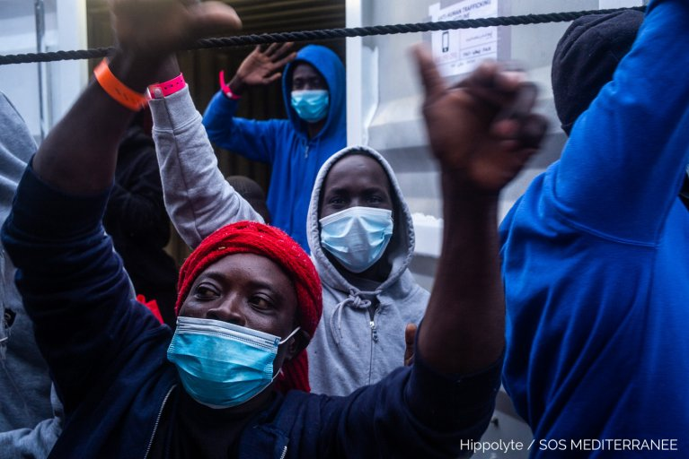 Migrants on board the Ocean Viking celebrate after they are told they can head to Augusta in Sicily to disembark | Photo: Hippolyte / SOS Mediterranee Twitter feed @SOSMedIntl