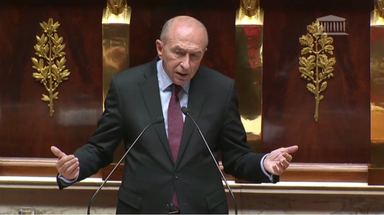 French Interior Minister Gérard Collomb addresses France's lower house of parliament, l'Assemblée Nationale, on November 8, 2017. Photo: assemblée-nationale.fr