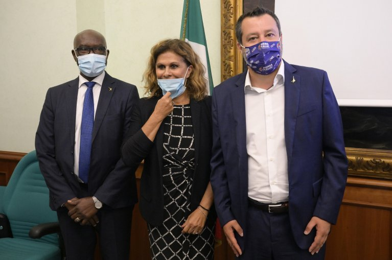 From left, Senator Tony Iwobi, lawmaker Suad Sbai and League leader, Matteo Salvini, during a press conference at the Lower House to present the new Department of integration. Rome, July 20, 2021 | Photo: ANSA/CLAUDIO PERI