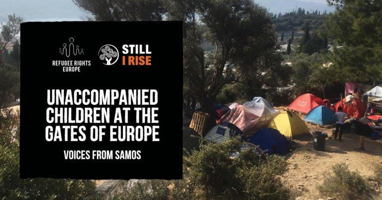 """غلاف تقرير """"الأطفال غير المصحوبين بذويهم على أبواب أوروبا.. أصوات من ساموس"""". المصدر: منظمتا """"حقوق اللاجئين في أوروبا"""" و""""مازلت أنهض""""."""