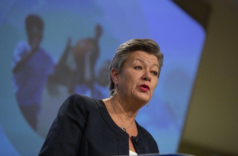 European Commissioner for Home Affairs Ylva Johansson speaks during a media conference at EU headquarters in Brussels, Belgium | Photo: Virginia Mayo / EPA