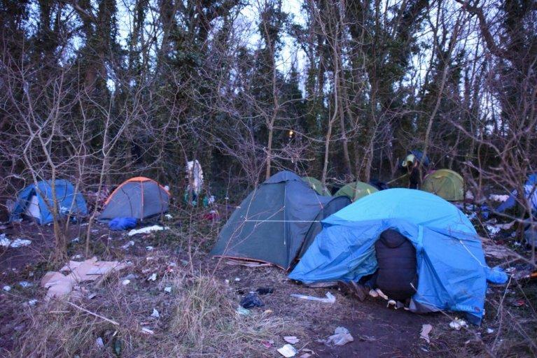 عکس آرشیف: خیمههای مهاجران در کاله، جنوری ۲۰۱۸، عکس از مهدی شبیل