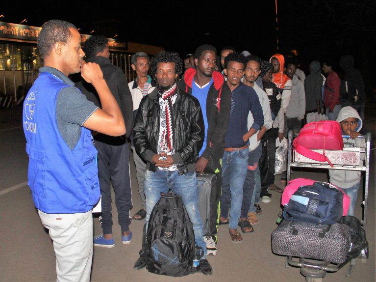 Ethiopian migrants at Bole Addis Ababa International Airport  after arriving from Libya on September 24, 2018 | Credit: IOM