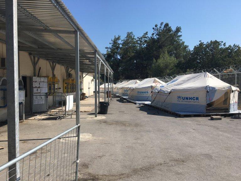 Dans le camp de Vial sur l'île de Chios en Grèce. Crédit : Charlotte Boitiaux.