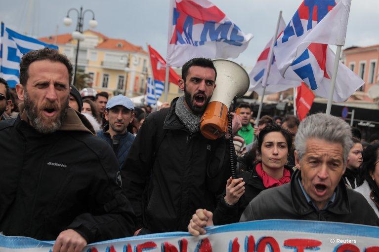 تظاهرات در جزیره لیسبوس در یونان